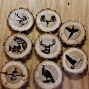 Custom Engraved Log Wood Wildlife Coaster's Set of (6)