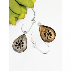 Tibetan Silver REVERSIBLE Dangle Teardrop Rustic Brass 2 looks in 1 pair!