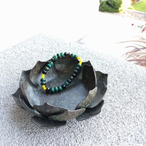 Black and Green Beaded Bracelet with Yellow Trim by Cumulus Luci