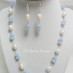 Aquamarine Freshwater .925 Sterling Silver Necklace with matching Earrings,Sterling Silver Jewelry,Fine Jewelry