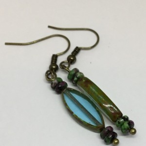 Blue drop earrings, Czech glass earrings, Dusty blue earrings, blue green earrings, Dangle earrings, everyday earrings