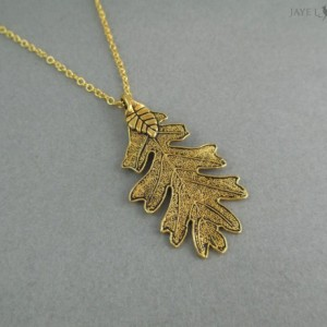 Gold Oak Leaf Pendant - Ranger's Apprentice Inspired