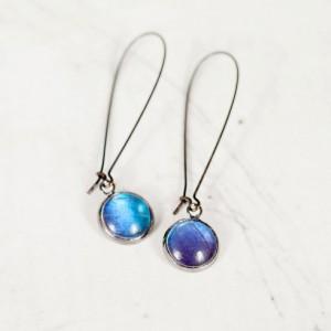 Real Butterfly Earrings - Real Butterfly Wing Jewelry - Simple Dangle Earrings - Blue Morpho Butterfly - Gift for Her - Kidney Wire Earrings
