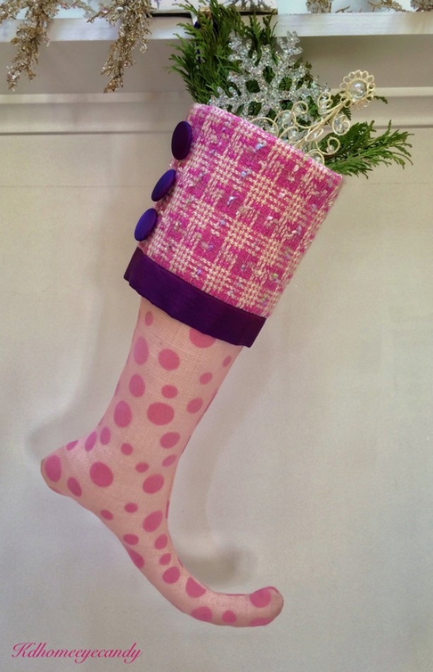 Pink Stocking, Kids Christmas Stocking, Purple Christmas Stocking, Christmas Stocking, Pink and White Stocking, Pink Christmas Stocking