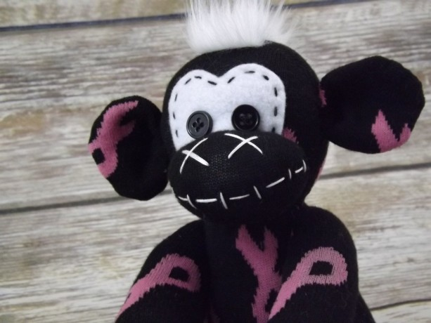 Sock monkey : Breast Cancer (Eve) ~ The original handmade plush animal made by Chiki Monkeys