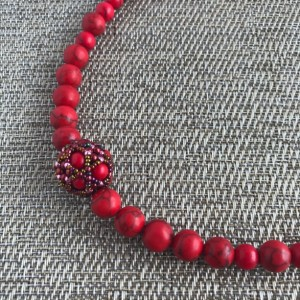 Red Beaded Necklace, Red Turquoise Necklace, Red Statement Necklace, Turquoise Necklace, Red Necklace, Natural Necklace, Chunky Necklace