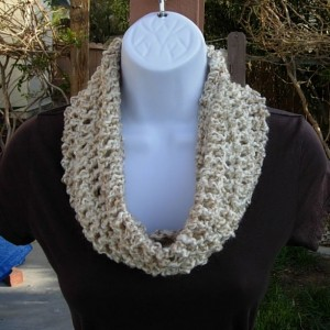 SUMMER COWL SCARF Off White, Cream, Beige, Gray Grey, Small Short Infinity Loop, Crochet Knit Necklace, Neck Warmer..Ready to Ship in 2 Days