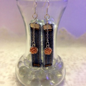 Denim and Roses Dangle Earrings