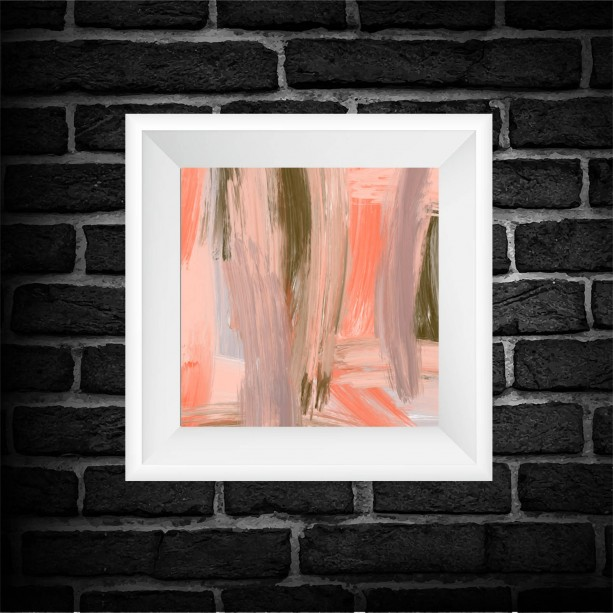 Coral Abstract Art Print - Square