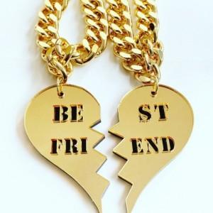 Best friends heart necklaces