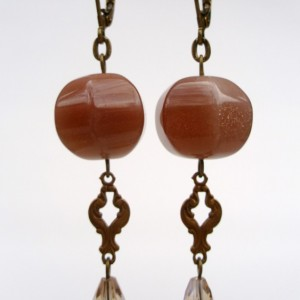 Nude Stone And Crystal Drop Earrings
