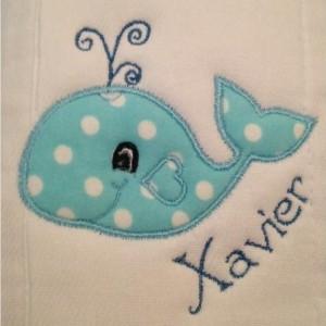 Whale burp cloth
