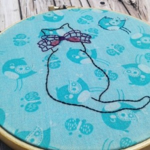 Birdwatching Cat Hand Embroidery Hoop- Wall Art (6 inch)