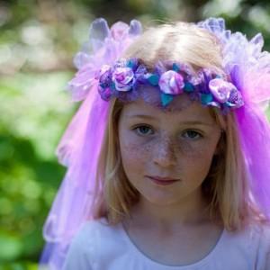 Girls Flower Wreath With Veil