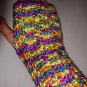 Bright Fingerless Gloves-Crocheted