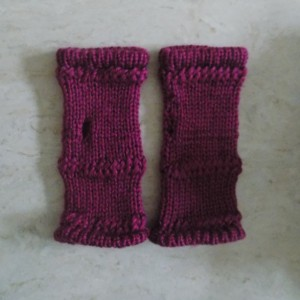 Plum Knit Fingerless Gloves