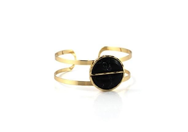 Gold Plated Metal Deco Black Stone Open Cuff Bracelet