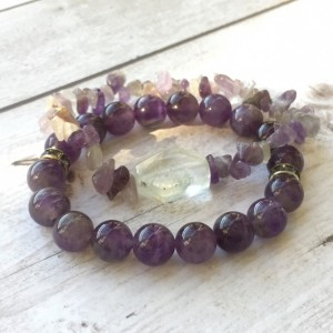 Amethyst Stretch Bracelet Set