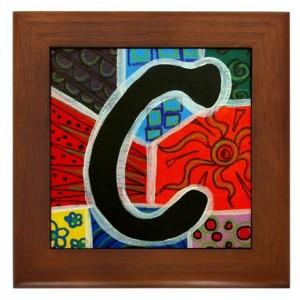 """Folk Art - Letter """"C"""" - FRAMED TILE By Artist A.V.Aposte"""