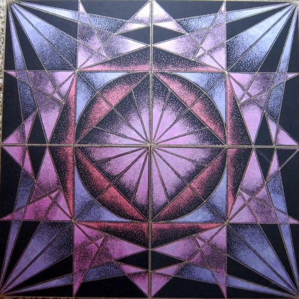 Geometric Drawing in Metallic Acrylic paints
