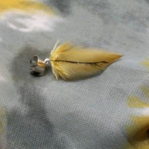 Mustard Yellow and Black Feather Ear Cuff - Earcuff - Earrings