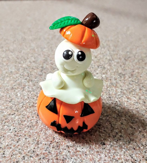 Polymer Clay Glow in the Dark Ghost in a Pumpkin Halloween Home Decor OOAK