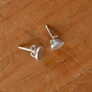 Tiny Silver Circle Earrings