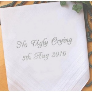Embroidered No Ugly Crying Wedding Handkerchief, Customized personalised personalized Hankies Wedding Gift