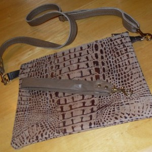 Alligator Cowhide Purse with wristlet and cross over strap and 2 lambskin pockets