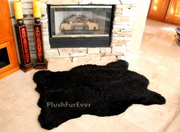 5' x 7' Luxury thick Californian Bear animal print shaggy lux contemporary fake fur taxidermy realistic shape home accents fur throws rugs