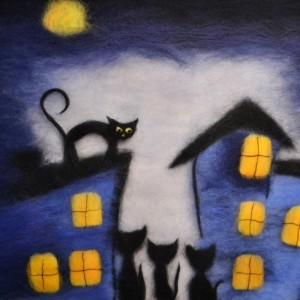 "Wool Painting ""Cats under a full moon"""
