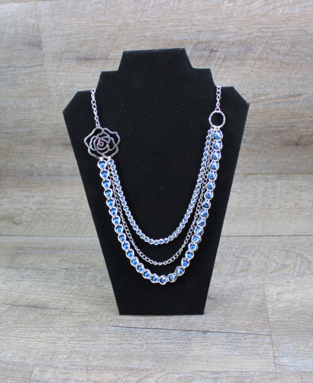 Beautiful Triple Strand Captured Blue Pearl Chainmaille Statement Necklace