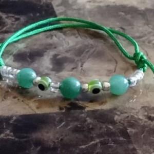 Green String Adjustable Bracelets Evil Eye Set