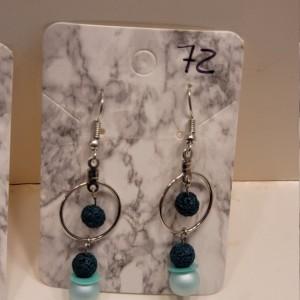 Green bead with green imitation pearl earrings