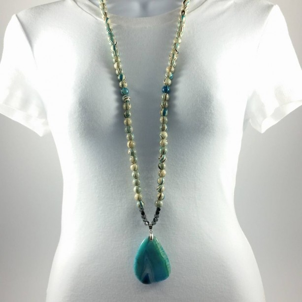 """38"""" Long Striped Beads Agate Necklace"""