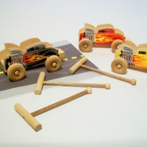 Christmas wooden toy- Whistle racer with launcher