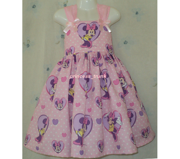 NEW Handmade Disney Minnie Mouse w/Heart on Pink Sun Dress Deluxe Custom Size 12M-10Yrs