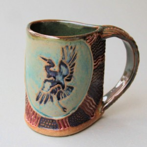Blue Heron Mug Coffee Cup Handmade Functional Tableware Microwave and Dishwasher Safe 12 oz