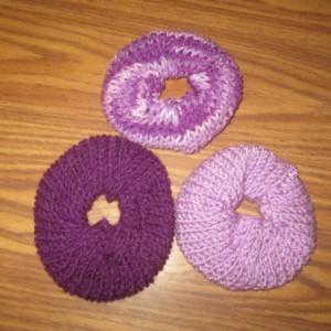 Hand Knit Scrunchies- Purple Tones