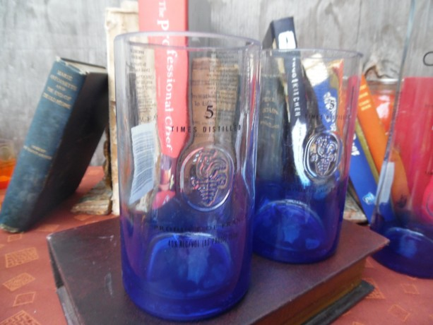Ciroc Bottle Upcycled Tumbler Glasses, Set of 2, Blue