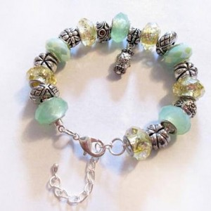 European Style Beads Tibetan Charm Bracelet, Mint Green Jewelry, European Charm Bracelet, Spring Jewelry, Jewellery Accessories, On Sale