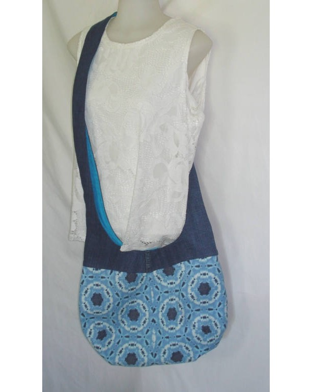 HOBO BAG PURSE/Cross Body Over the Shoulder Bag in Upcycled Jean and Tie Dye Fabric with Magnetic Closure