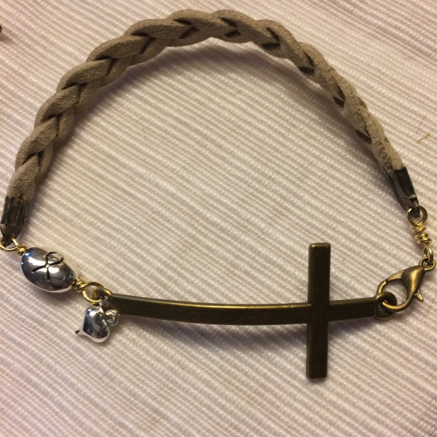 Natural suede leather breaded bracelet with bronze tone Cross connector, cancer charm and heart #B00214