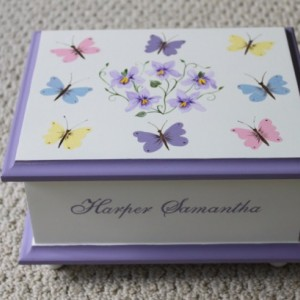 Butterfly & Violets Baby Keepsake Memory Box personalized baby gift