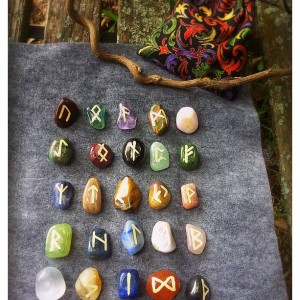 Rune Set: Elder Futhark-Handpainted-Semi Precious Gemstones-Lapis, jade, quartz,hematite, and more