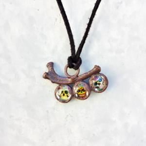 Rib Bone with Sugar Skulls Pendant