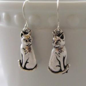 Cat Earrings  Sitting Cat Earrings Feline Earrings Pewter Copper Cat Jewelry