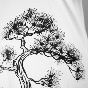 Ash Grey Seafoam Japanese Pine Tree Screen Printed Crewneck T-Shirt Dress, Bonsai, Sumi-e, Botanical, Last One, Made in USA - Size S