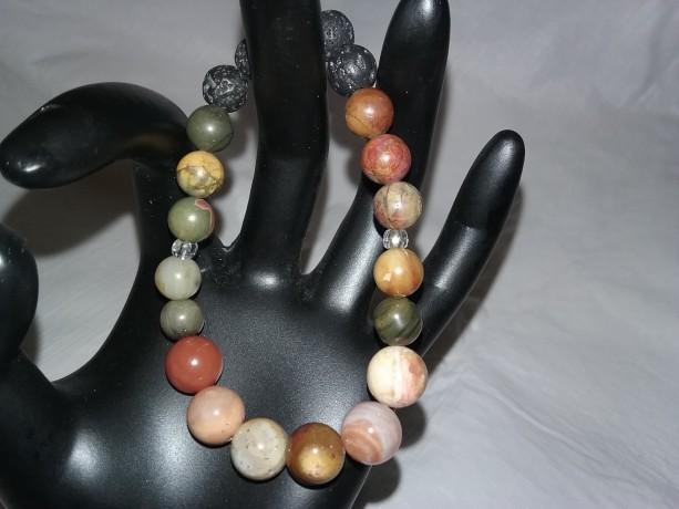 Petrified Wood & Picasso Jasper Gemstones w/Lava Stone Diffuser Bracelet