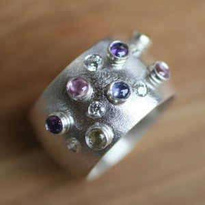 Pastel Colors and Brilliant Sparkle / Sterling Silver Gemstone Encrusted Cigar Band Free US Shipping!